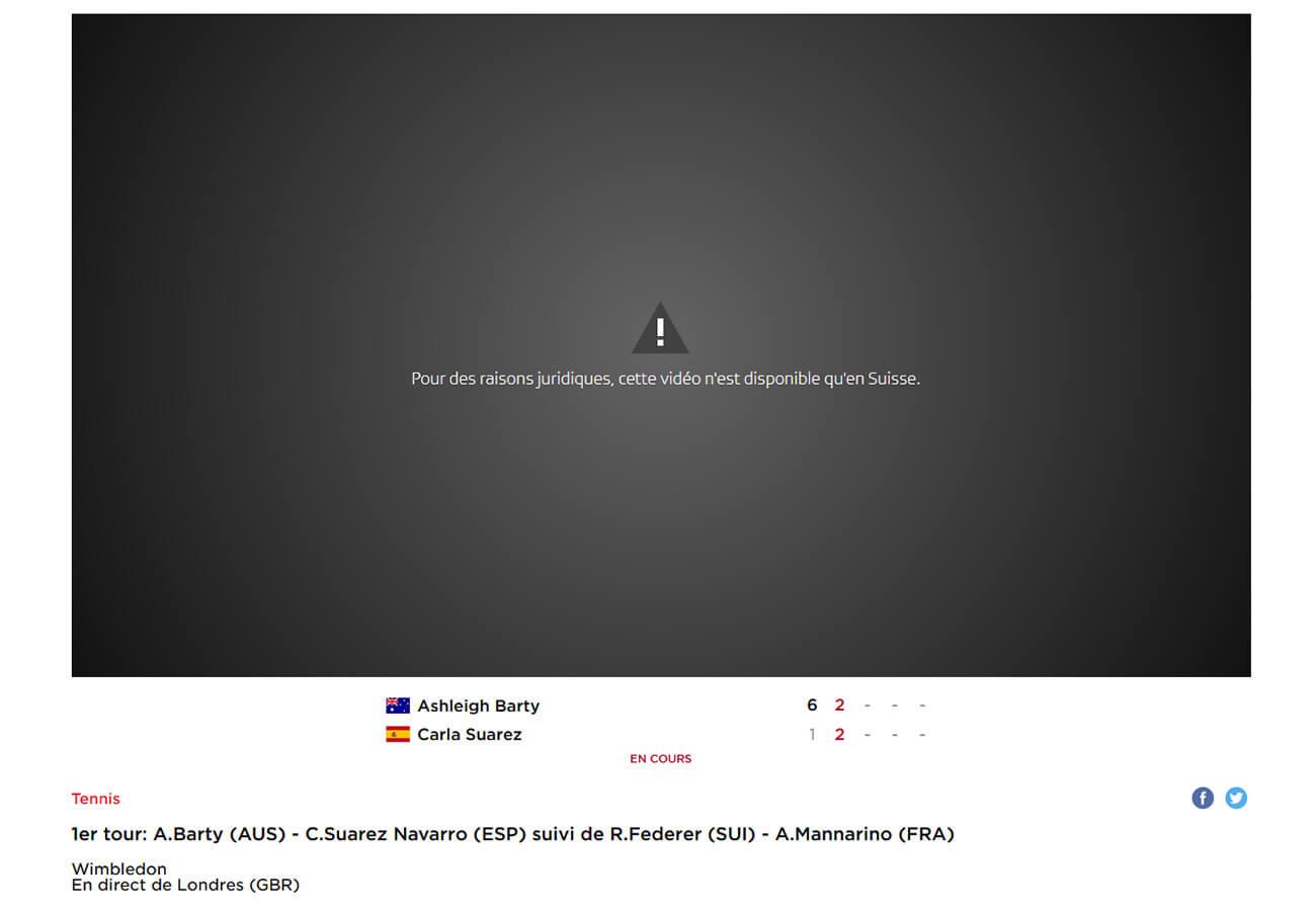Message géo-blocage RTS Chaine gratuite Wimbledon